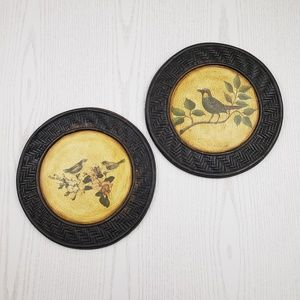 Vintage Inspired Bird Wall Art 2 Piece Set Round